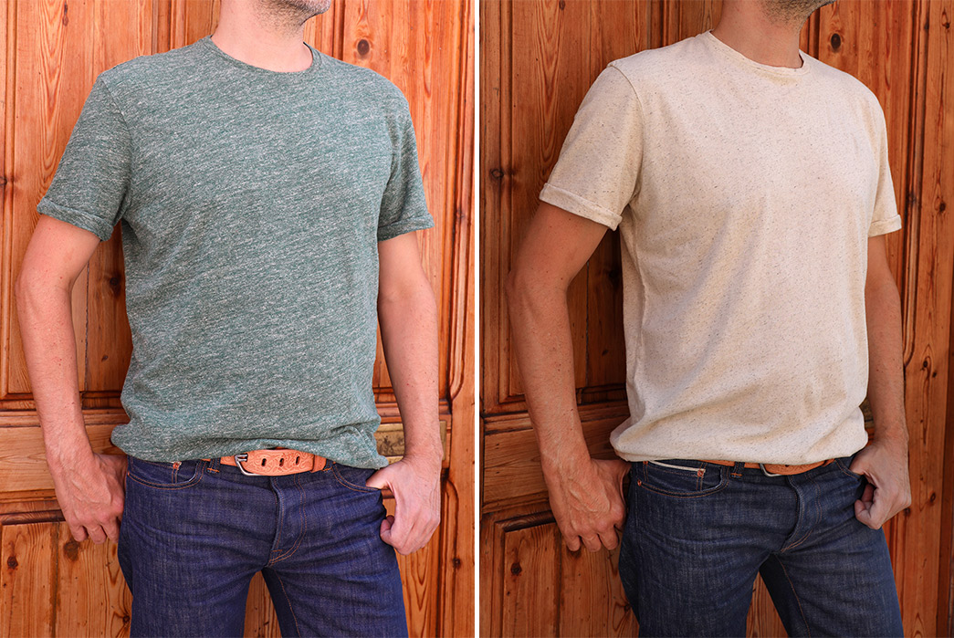 Companion-Denim's-Roll-Up-Tees-Are-Built-From-An-Untreated-Cotton-Hemp-Blend-fronts-green-white-2
