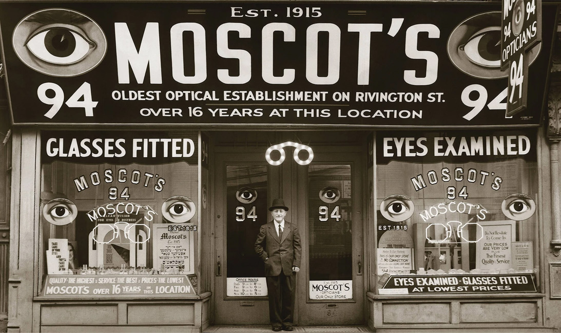 Moscot---Seeing-Straight-In-NYC-Since-1915-in-a-front-of-shop