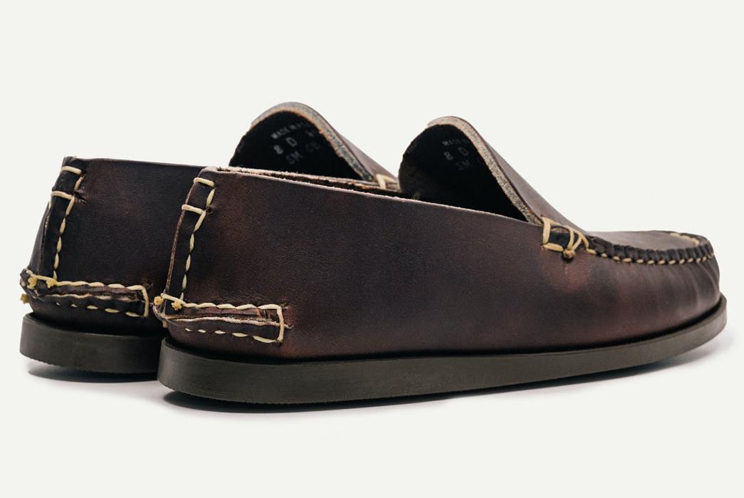 Oak-Street-Bootmakers-Slips-Into-Horween-Chromepak-Moccasins-brown-pair-back-side and-bottom