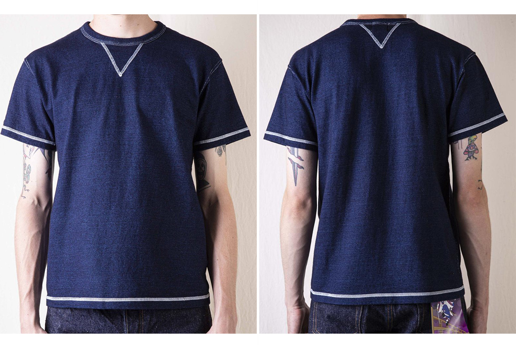 Samurai-Stays-True-To-Its-Heavyweight-Traditions-With-Its-Heavyweight-Indigo-Dyed-V-Gusset-T-Shirt-model-front-back