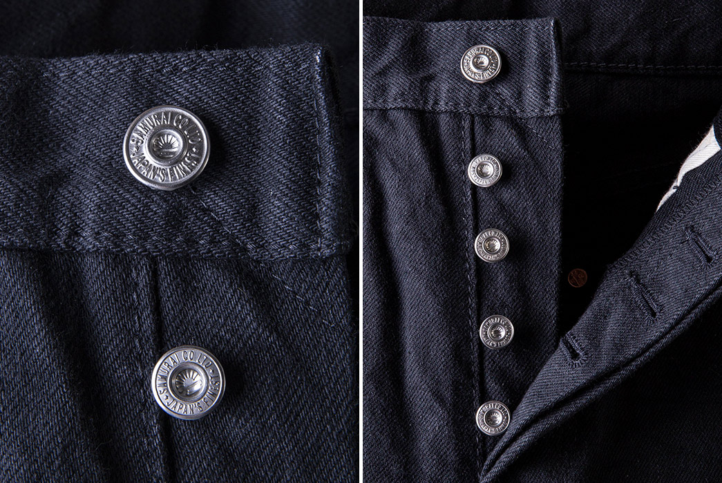 Samurai's-S511NBKii-NTA-Colorfast-Jeans-Will-Go-Up-In-Smoke-front-top-buttons