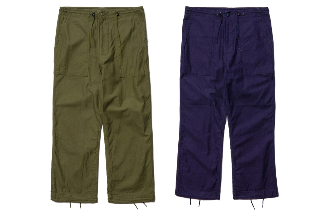 Needles-Comes-Through-with-(Very)-Relaxed-Sateen-Fatigue-Pants-fronts-green-and-blue