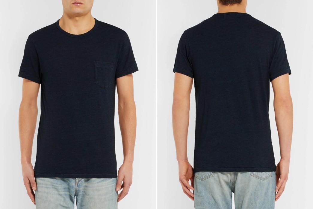 Plain-Indigo-T-Shirts---Five-Plus-One-2)-RRL-Indigo-Dyed-Slub-Cotton-T-Shirt