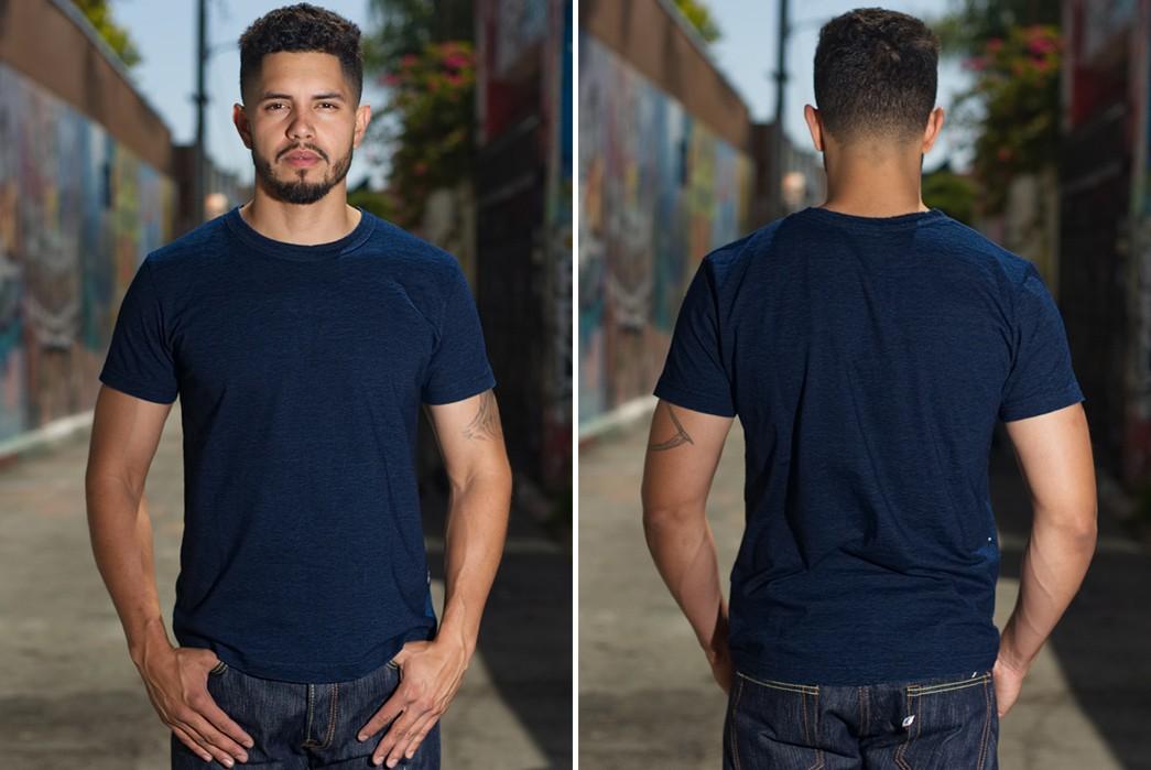 Plain-Indigo-T-Shirts---Five-Plus-One-3)-Pure-Blue-Japan-Yarn-Dyed-Indigo-Tee-Shirt