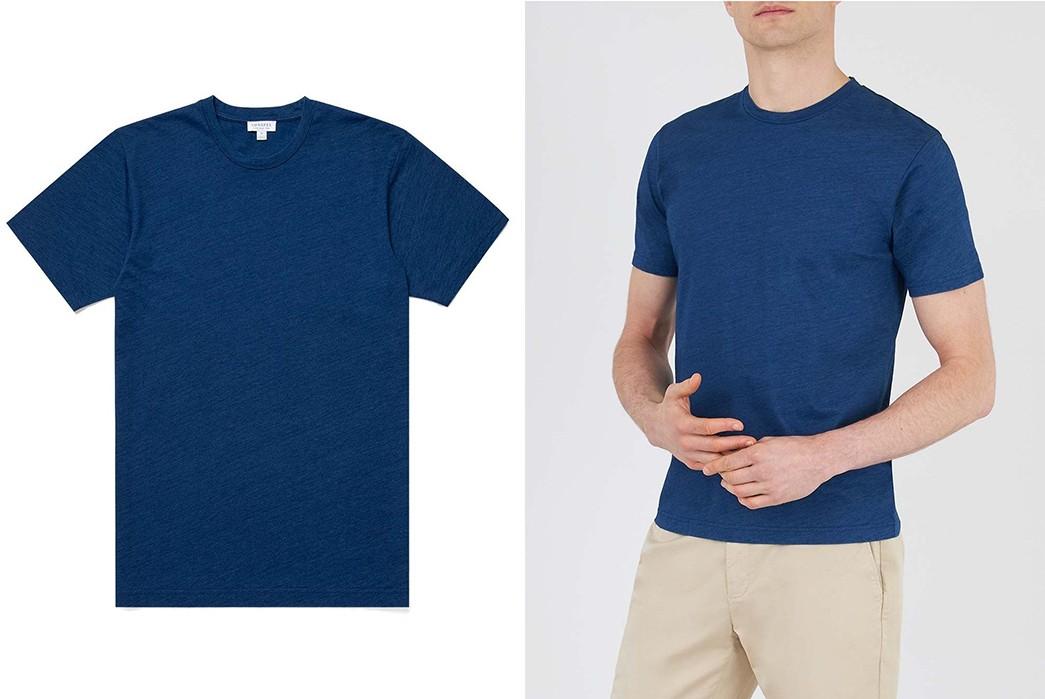 Plain-Indigo-T-Shirts---Five-Plus-One-4)-Sunspel-Riviera-T-Shirt-in-Indigo