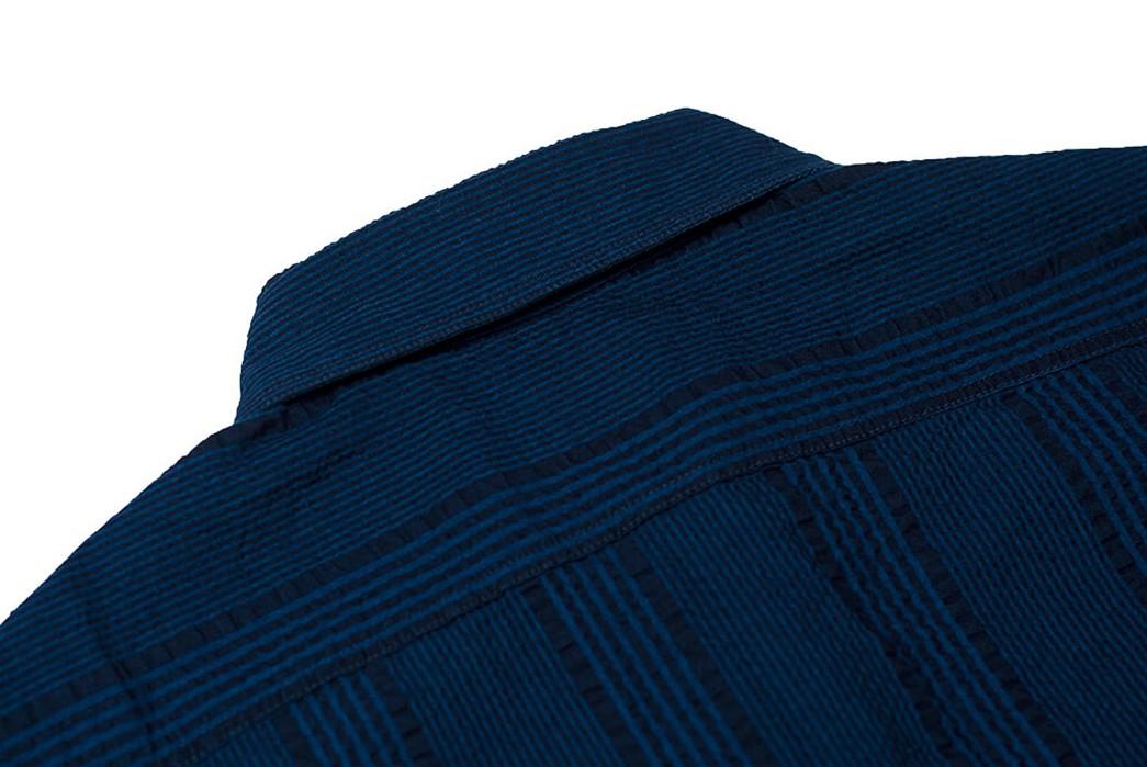 Sweeten-Up-Your-Shirt-game-With-Sugar-Cane's-Indigo-Dyed-Seersucker-Summer-Shirt-back-top-collar
