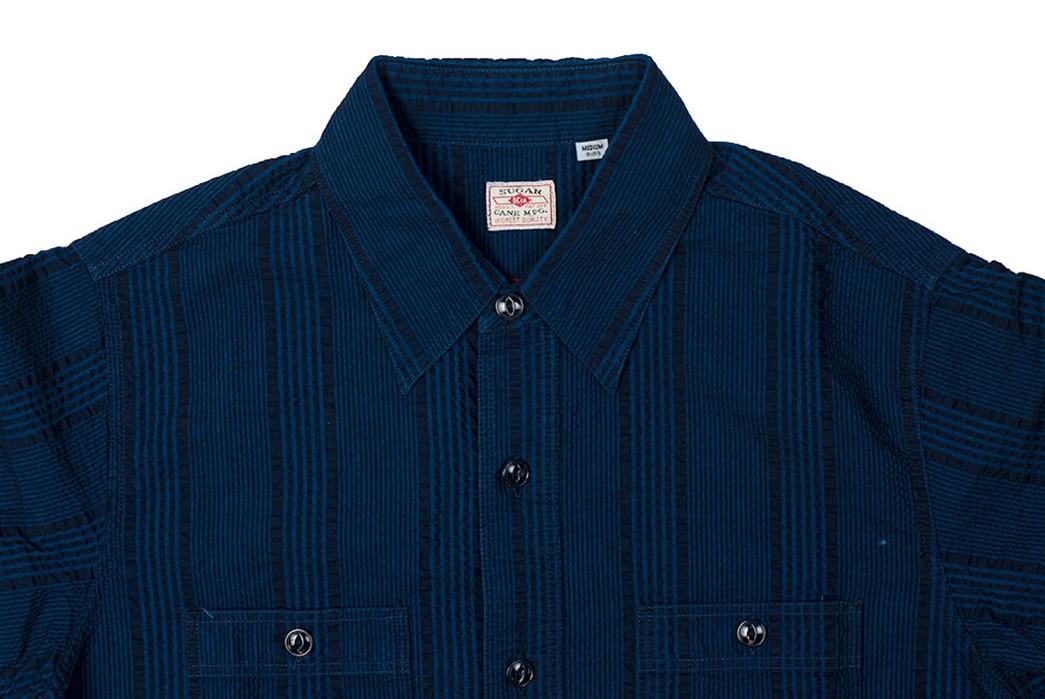 Sweeten-Up-Your-Shirt-game-With-Sugar-Cane's-Indigo-Dyed-Seersucker-Summer-Shirt-front-top-collar