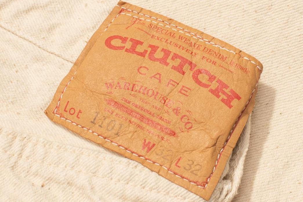 Warehouse-&-Co.-x-Clutch-Cafe-Lot-1101-Ecru-Denim-Jean-back-leather-patch