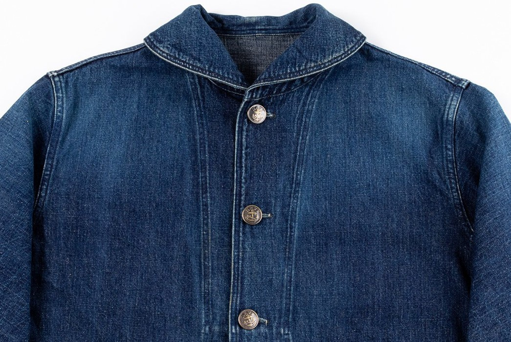 Warehouse-Decks-Out-a-Classic-USN-Jacket-In-Custom-Washed-Denim-front-top
