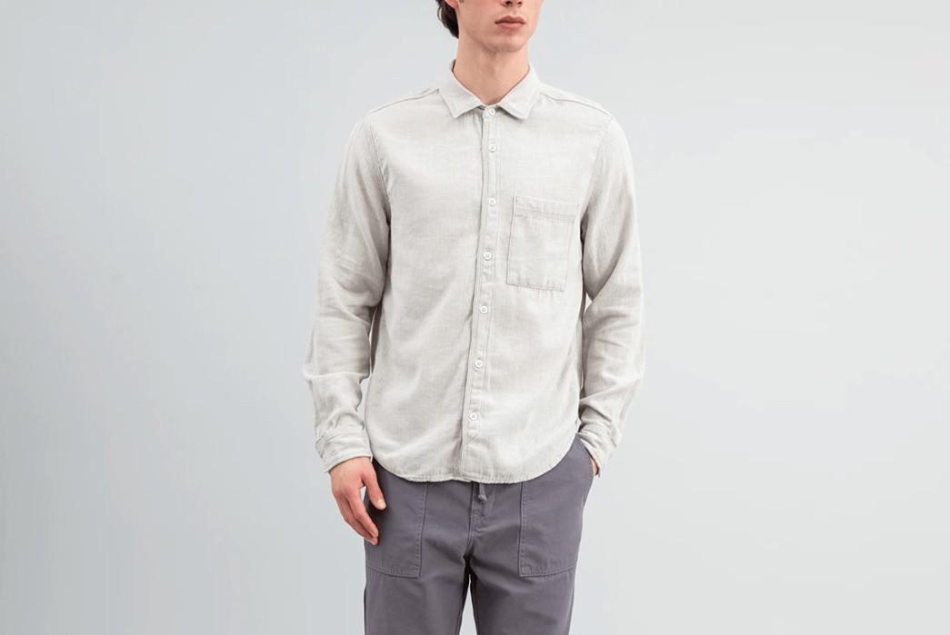 Brand-Profile-Save-Khaki-And-Home-Work-You-Can-Look-Forward-To-Herringbone-Overshirt,-Save-Khaki-Home-Work