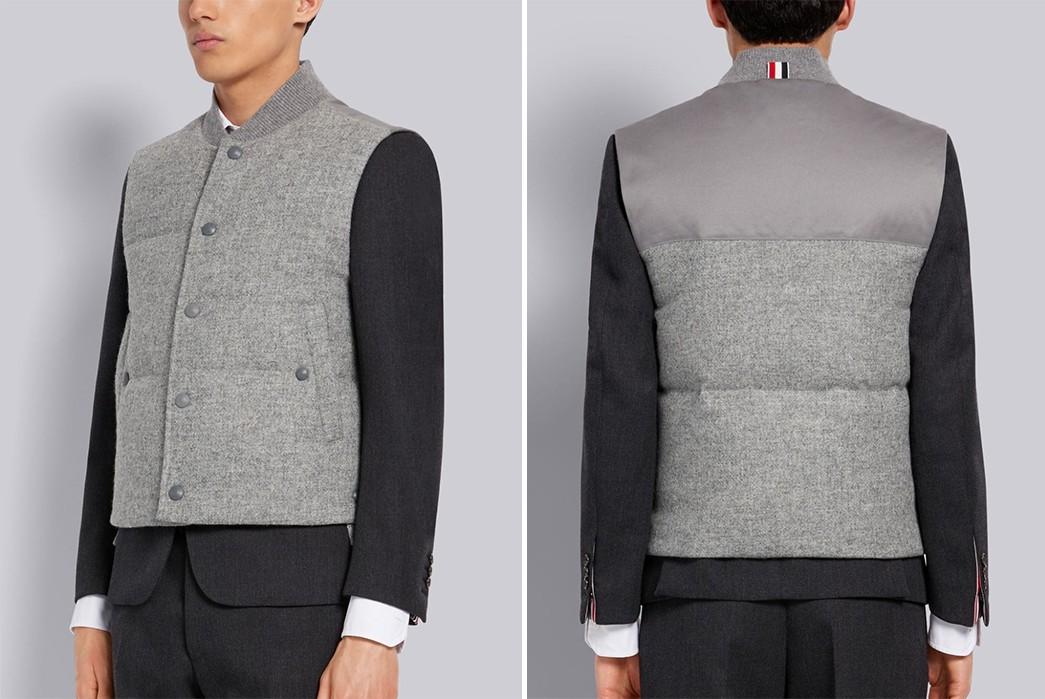 Casual-Wool-Vests---Five-Plus-One-5)-Thom-Browne-Down-Filled-Shetland-Wool-Vest