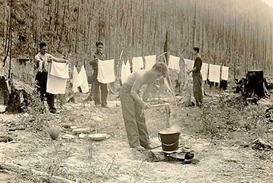 Civilian-Conservation-Corps-Core-CCC-members-doing-laundry-in-Glacier-National-Park.-Image-via-NPS.