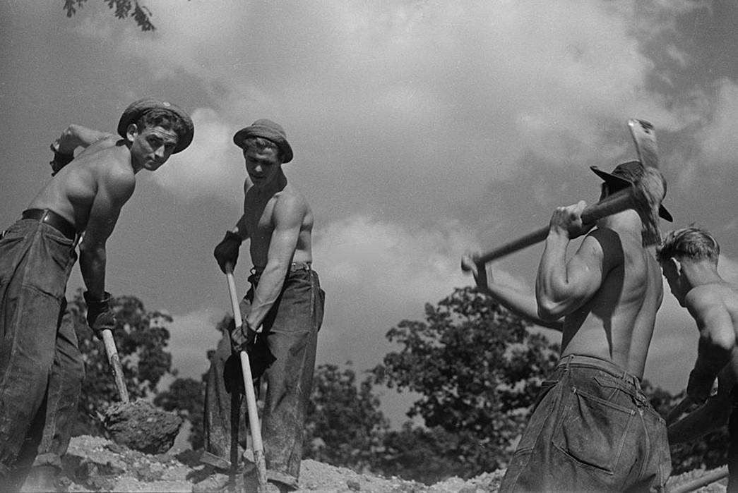 Civilian-Conservation-Corps-Core-CCC-men-wearing-the-6-124A-work-trouser.-Image-via-CCC-uniforms.