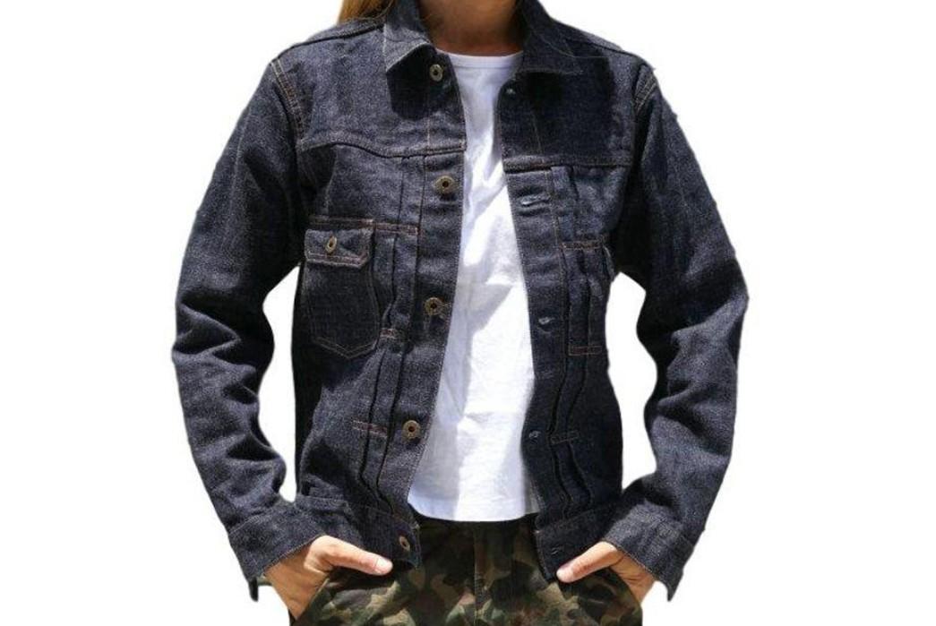 Japan-Blue-Drafts-In-Cote-d'lvoire-For-Its-16.5-Oz.-Type-II-Denim-Jacket-front-model