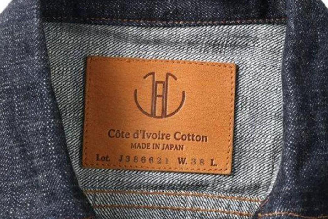 Japan-Blue-Drafts-In-Cote-d'lvoire-For-Its-16.5-Oz.-Type-II-Denim-Jacket-inside-leather-patch