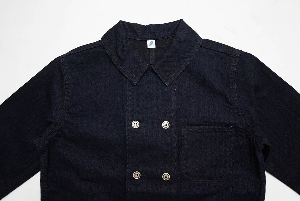 Pure-Blue-Japan-Serves-Up-an-Indigo-Dyed-HBT-Chore-With-A-Double-Button-Placket-front