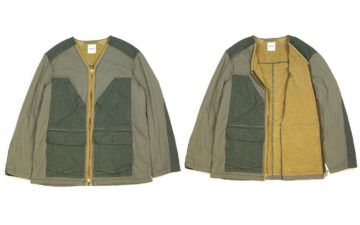 Sage-De-Cret's-Khaki-Field-Jacket-Flaunts-Corduory,-Nylon,-and-Terry-Cloth