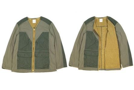 Sage-De-Cret's-Khaki-Field-Jacket-Flaunts-Corduory,-Nylon,-and-Terry-Cloth