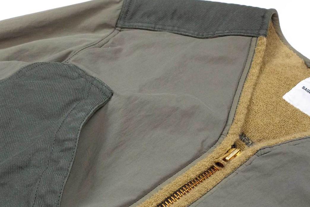 Sage-De-Cret's-Khaki-Field-Jacket-Flaunts-Corduory,-Nylon,-and-Terry-Cloth-front-detailed