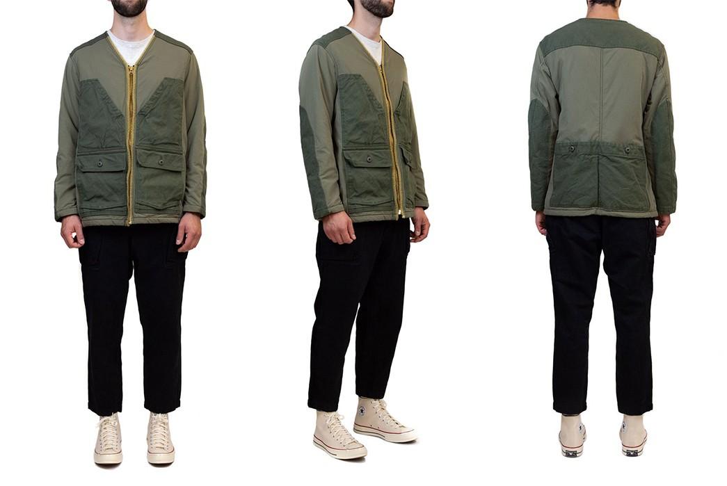 Sage-De-Cret's-Khaki-Field-Jacket-Flaunts-Corduory,-Nylon,-and-Terry-Cloth-model-front-side-back