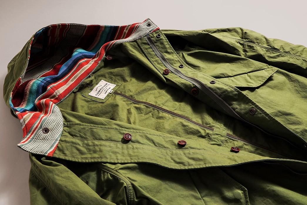 Companion-Denim's-Southwest-Parka-Is-2-Garments-In-1-green-front-open-top