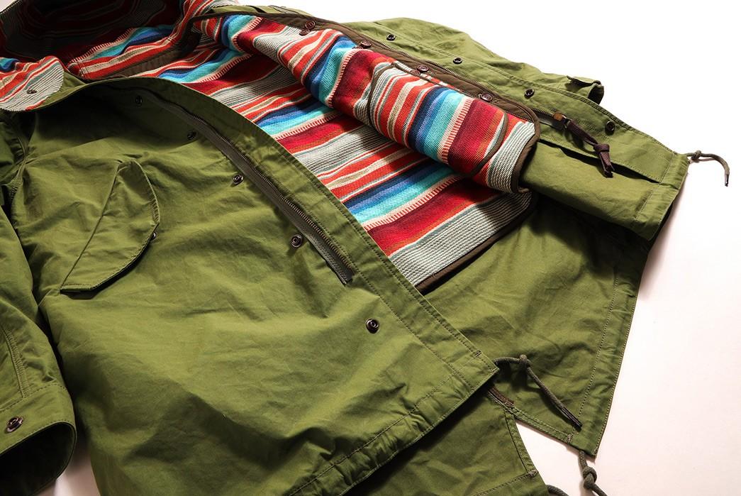 Companion-Denim's-Southwest-Parka-Is-2-Garments-In-1-green-front-open