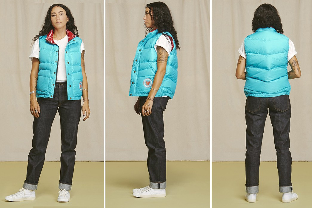 Ginew's-Strawberry-Down-Vest-Pays-Tribute-To-Oneida-Medicine-femal-model-front-side-back
