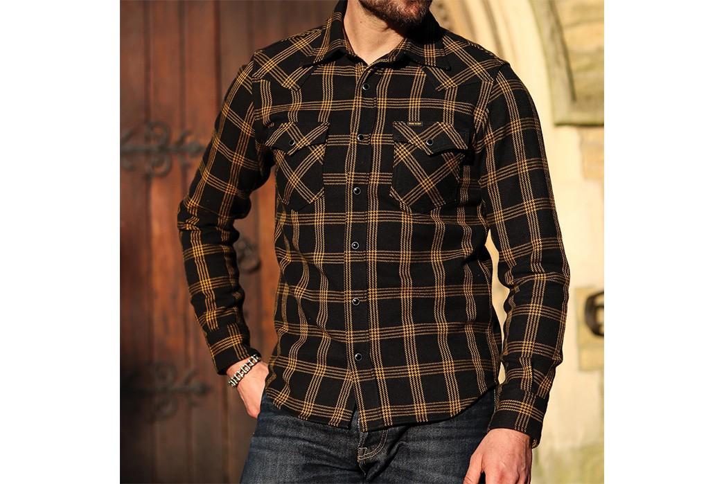 Iron-Heart-Weaves-a-Check-Western-Shirt-From-Peruvian-Aspero-Cotton-model-front