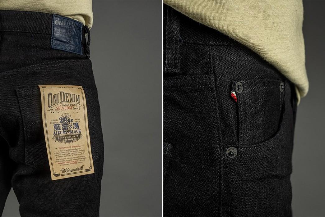 ONI-Marries-Indigo-&-Black-With-Its-679-Aizumi-x-Black-Secret-Denim-Jeans-model-side-detailed