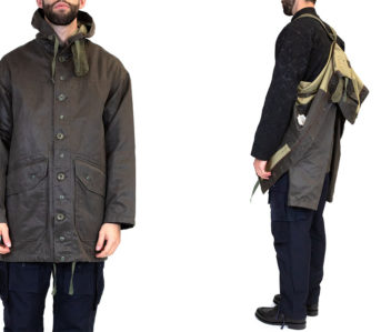Strap-Into-The-Waxed-Engineered-Garments-Madison-Parka-model-front-back