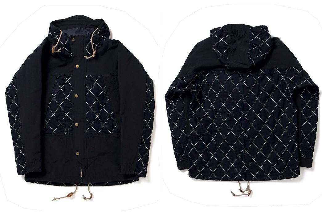 Studio-D'Artisan-Applies-Sashiko-Detailing-To-A-Classic-Mountain-Parka-front-back