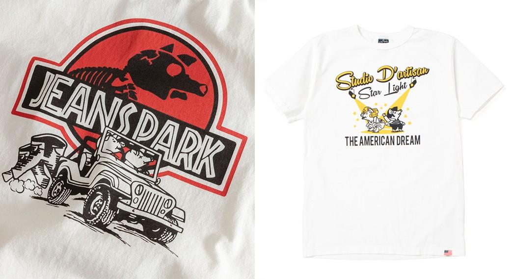 Studio-D'Artisan---Behind-The-Proprietors-Of-Japanese-Denim-As-We-Know-It-SDA-Jurassic-Park-rip-(left)-via-Blue-Owl-and-FW20-design-(right)-via-Studio-D'Artisan