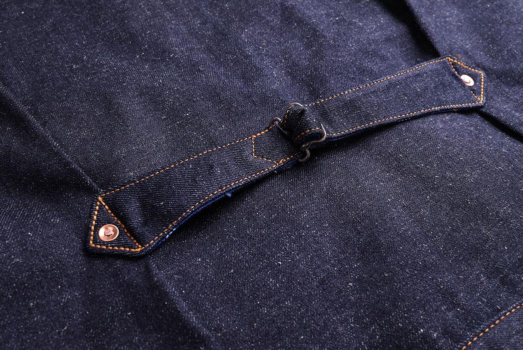 Companion-Sews-Up-Cotton-Hemp-Blend-Italian-Selvedge-Denim-For-Its-Nevada-Jacket-back-buckle