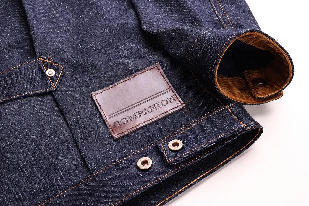 Companion-Sews-Up-Cotton-Hemp-Blend-Italian-Selvedge-Denim-For-Its-Nevada-Jacket-back-leather-patch
