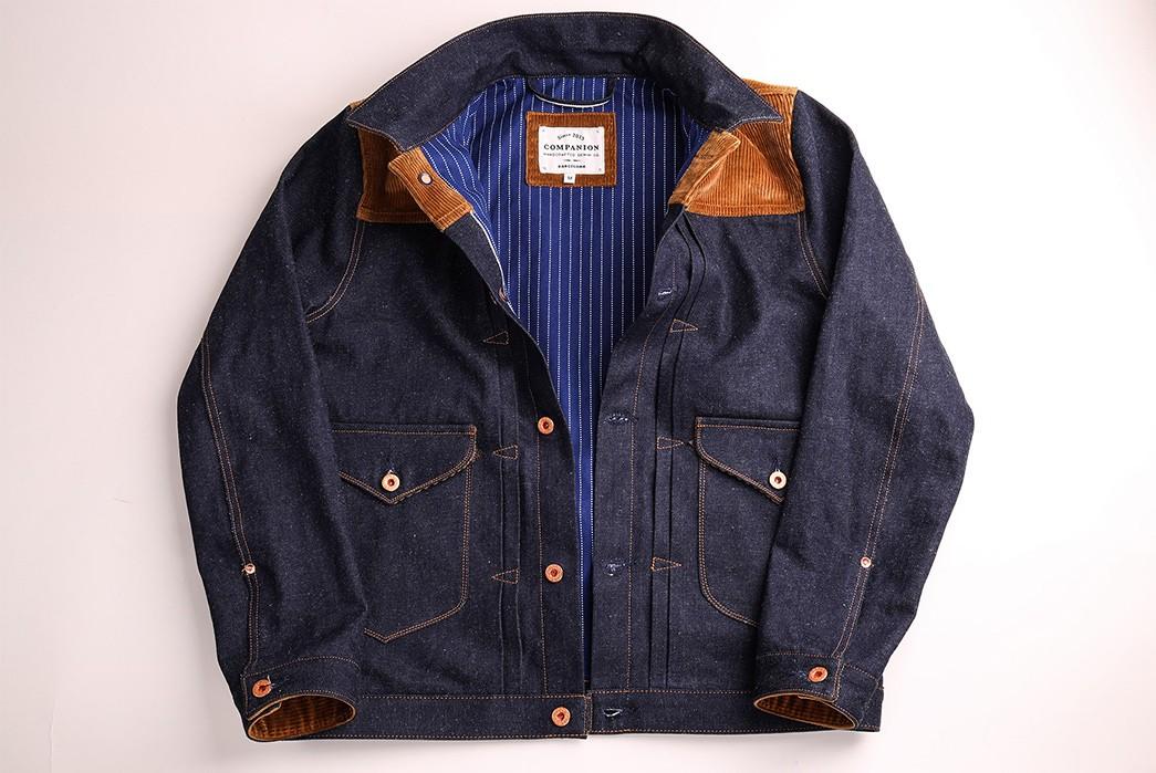 Companion-Sews-Up-Cotton-Hemp-Blend-Italian-Selvedge-Denim-For-Its-Nevada-Jacket-front-open