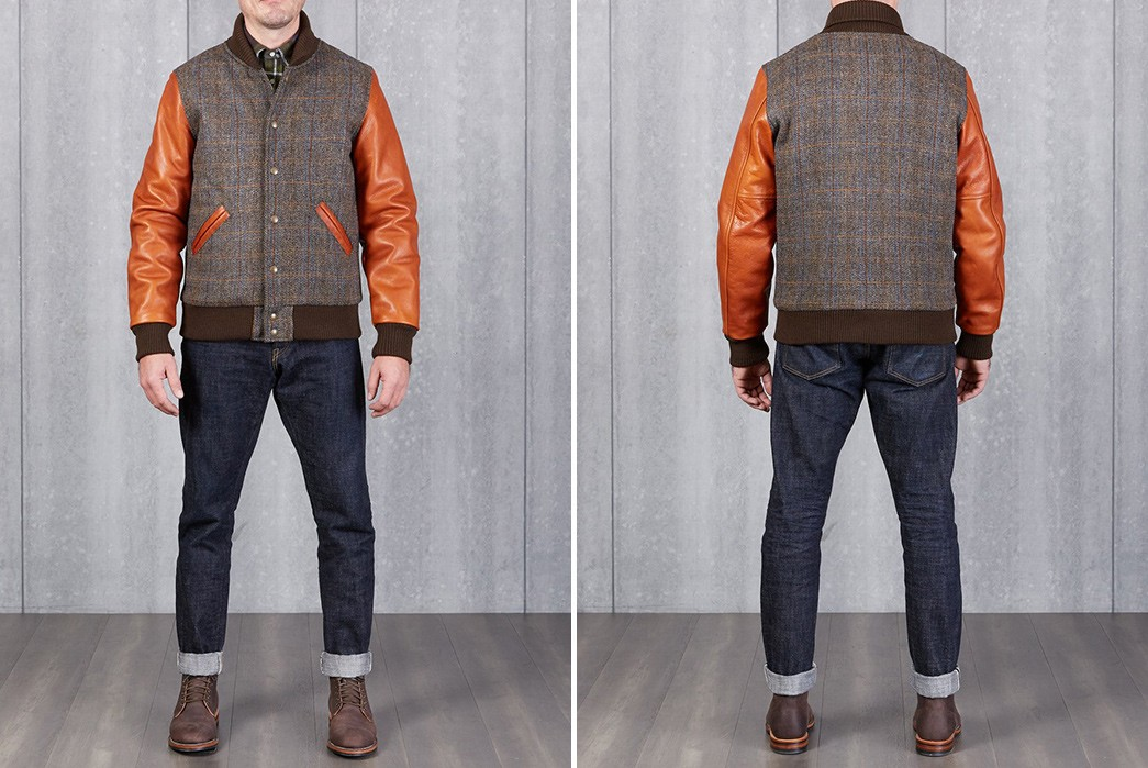 Divison-Road-Adds-A-Harris-Tweed-Varsity-To-Its-Exclusive-Dehen-1920-Collection-model-front-back