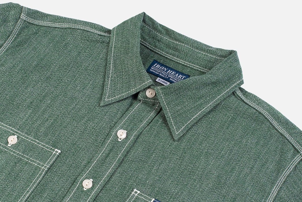 Iron-Heart-Twists-Up-A-Pair-of-Selvedge-Chambray-Shirts-green-front-top