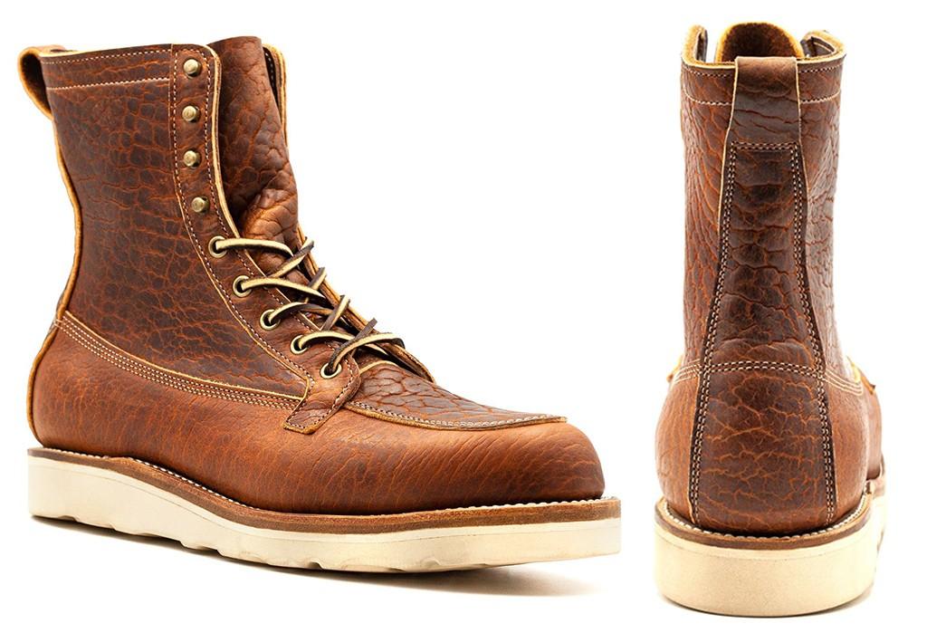 Moc-Toe-Boots---Five-Plus-One-4)-Truman-Boot-Gun-Boot-in-Cognac-Shrunken-Bison-(Made-to-Order)