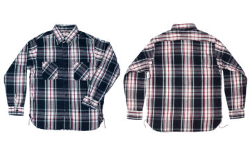 Sweeten-Up-Winter-With-Sugar-Cane's-Twill-Check-Flannel-Shirt-in-Sine-Wave-Black-front-back