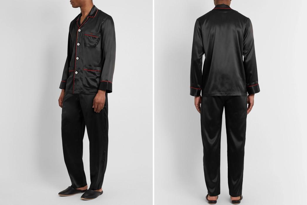Winter-Pajamas---Five-Plus-One-Plus-One---Isaia-Black-Piped-Silk-Blend-Satin-Pajamas