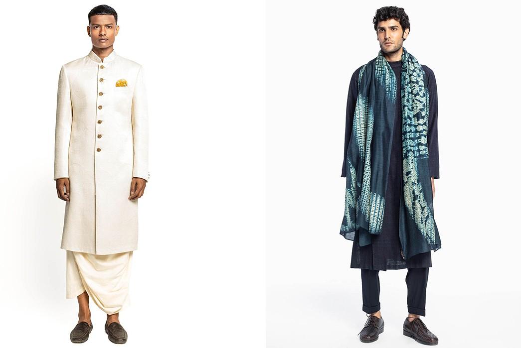 Country-of-Origin---India-Sherwani-set-(right)-and-kurta-set-(left)-by-Divyam-Mehta.-Images-via-Ogaan