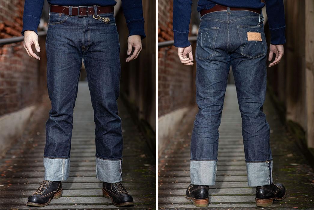 Franklin-&-Poe-Restocks-Mister-Freedom's-Classic-Lot.-64-SC66-Denim-Jeans-model-front-back