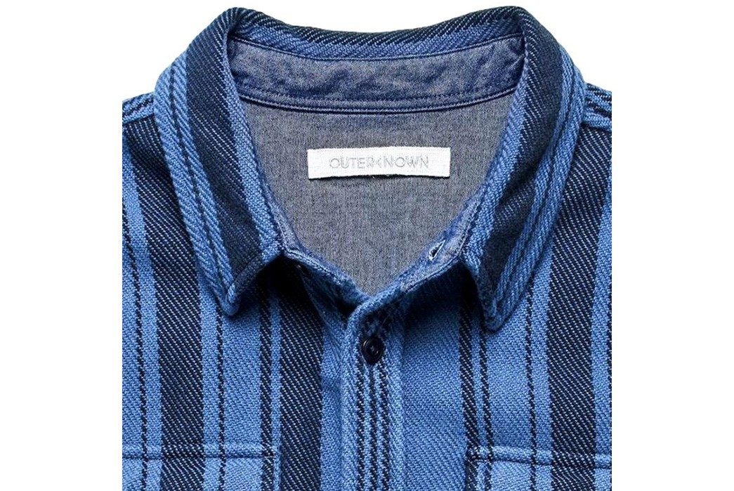 Outerknown's-Pacific-Hi-Dez-Stripe-Shirt-Is-Inspired-By-Baja-Blankets-front-collar