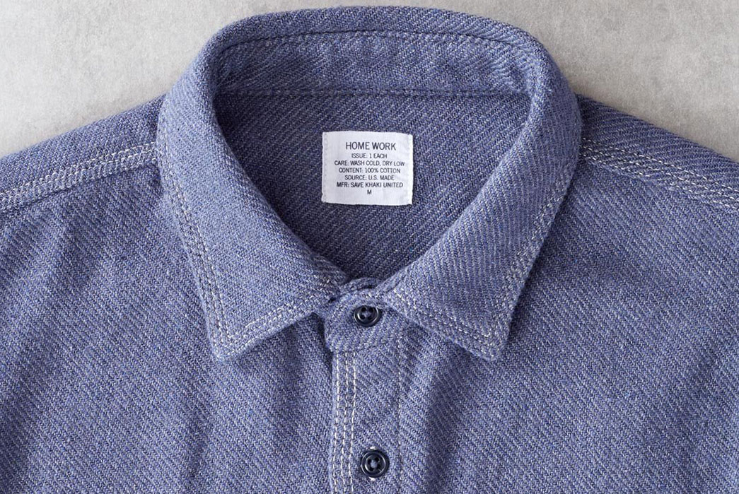 Home-Work's-Blanket-Twill-Shirt-Is-Holistically-Made-In-USA-front-collar