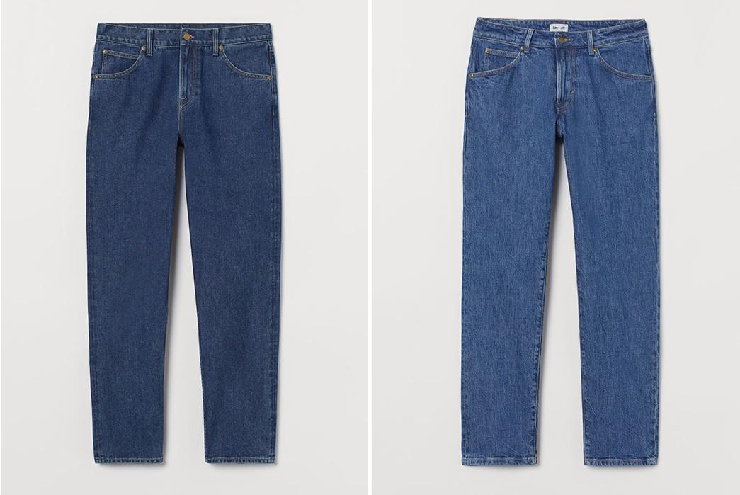 Lee-x-H-&-M-dark-blue-and-light-blue-pants