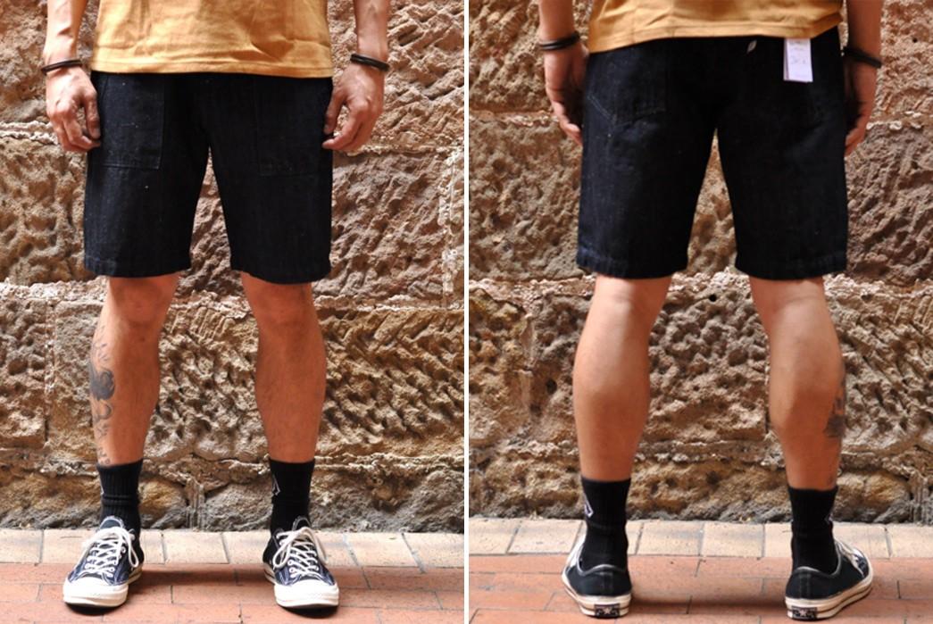 PBJ-Issues-Baker-Shorts-In-12-Oz.-Cotton-Hemp-Denim-model-front-back