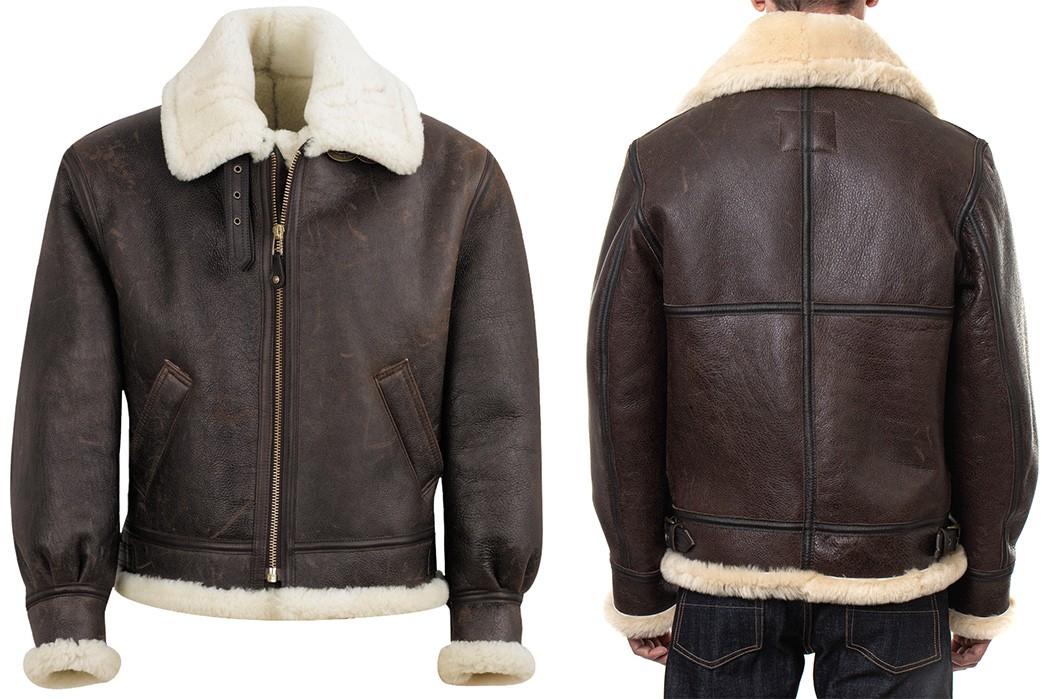 Shearling-Lined-Jacket---Five-Plus-One-3)-Schott-NYC-Classic-B-3-Sheepskin-Leather-Bomber-Jacket