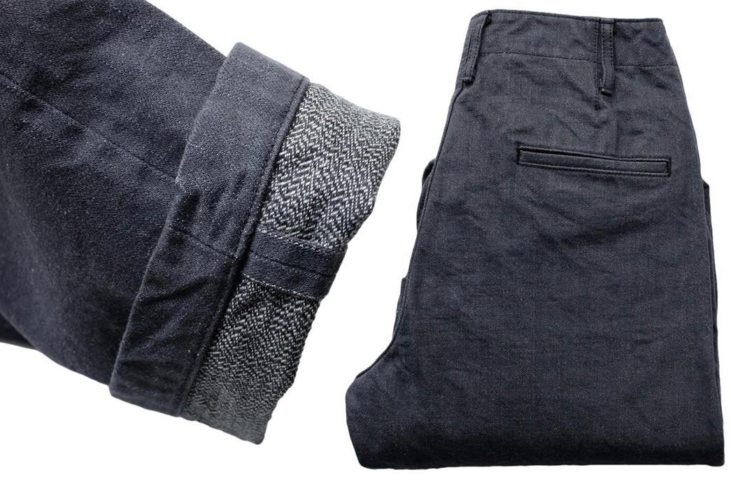 Break-In-Samurai's-SJ48CP-Broken-Twill-Chinos-leg-selvedge-and-folded