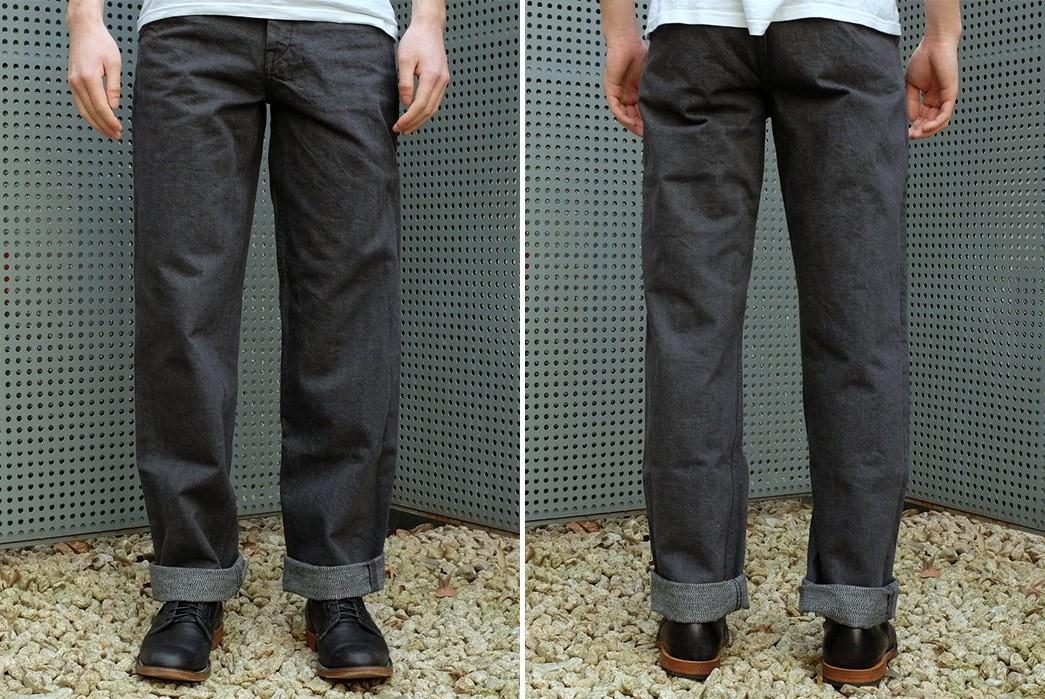 Break-In-Samurai's-SJ48CP-Broken-Twill-Chinos-model-front-back