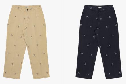 Knickerbocker-Embroiders-Its-Bulldog-Motif-Onto-Twill-Trousers